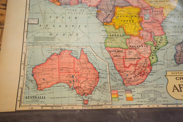 Cram's vintage 1930s school pull down map of africa