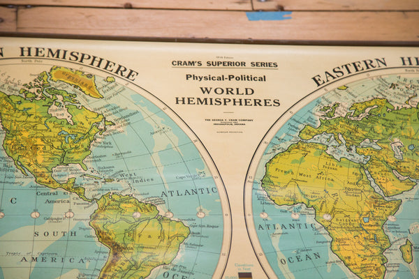 Large hanging classroom full down map of the world hemispheres