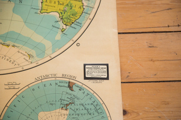 Vintage Cram's Large Hanging Pull-Down Map of the world hemispheres for school classrooms with a washable write-on surface