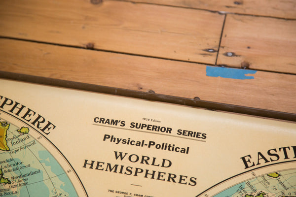 Vintage 1930s Cram's Superior Series Physical Political Pull Down Map of the World Hemispheres
