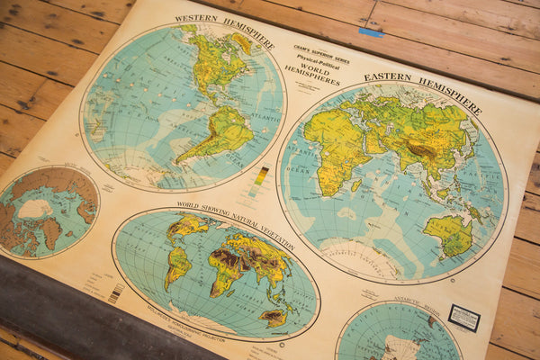 World Hemispheres Pull Down 1930s Vintage Cram's Map for school classrooms showing vegetation