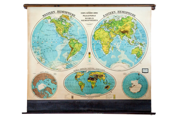 Vintage 1930s Cram's Superior Series Hanging Pull Down Map of the world hemispheres