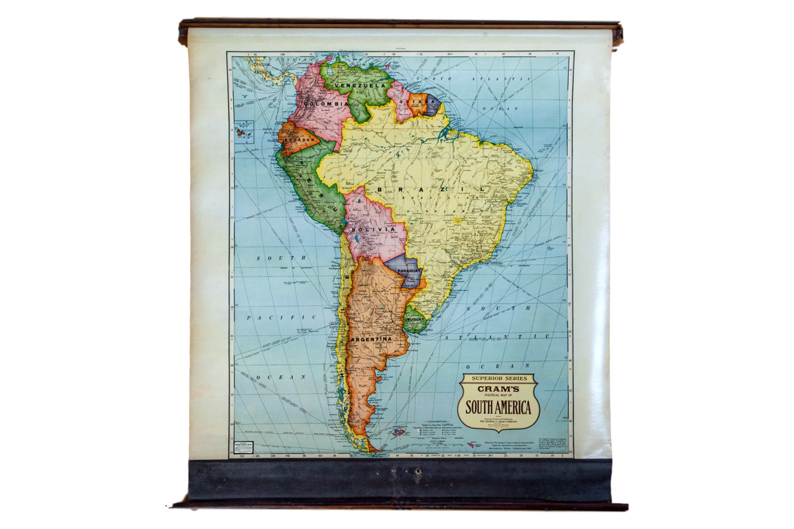 Vintage Cram\'s Pull Down Map of South America :: ONH Maps 3305