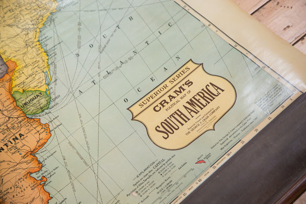 Vintage Crams Pull Down Map Of South America  ONH Maps - Us vintage map with dowel