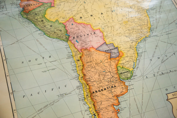 South American countries shown on this vintage 1930s map from Cram's Superior Series of pull down school classroom maps