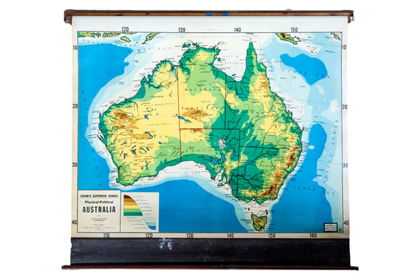 Vintage Cram's 1930s pull down map of Australia