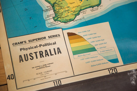 Cram's Superior Series Physical-Political Pull Down Map of Australia