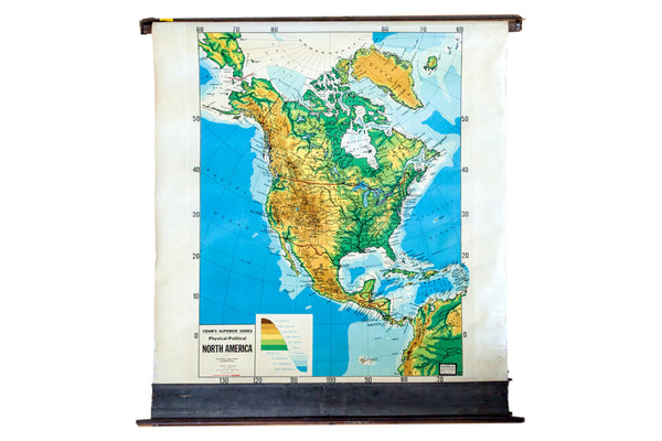 Write on washable vintage 1930s pull down map of North America
