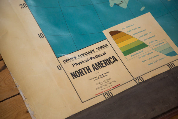 Vintage 1930s Cram's Superior Series Physical Political Pull Down Map of North America