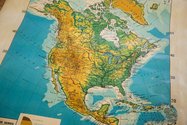 Large hanging pull down school classroom map of North America vintage 1930s Cram's Superior Series