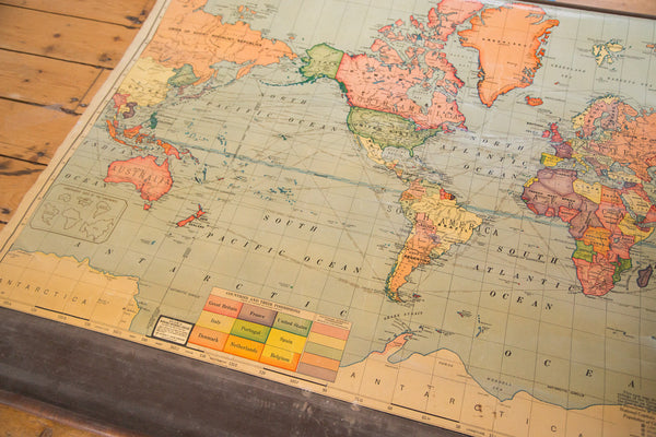 Rare hard to find sought after hanging pull down map of the world including all 7 continents