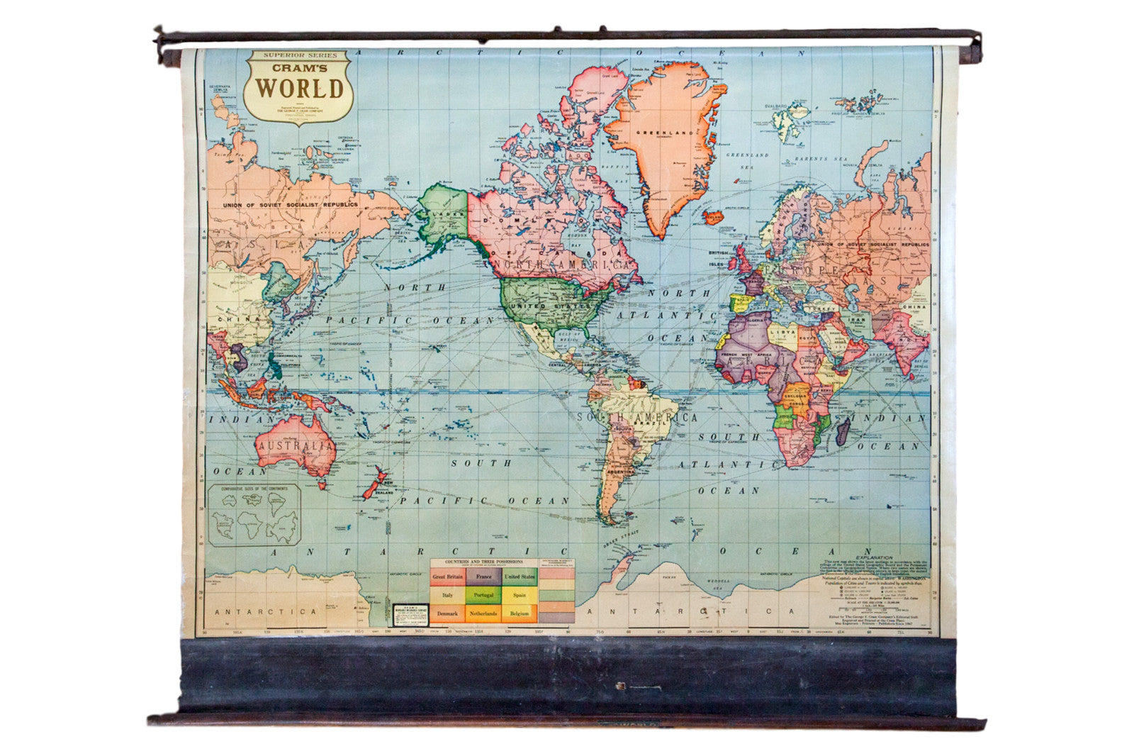 Pull Down Map Vintage Cram's Pull Down Map of the World
