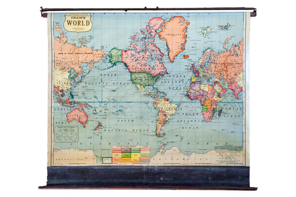 Vintage 1930s Pull Down Classroom Map of the entire World