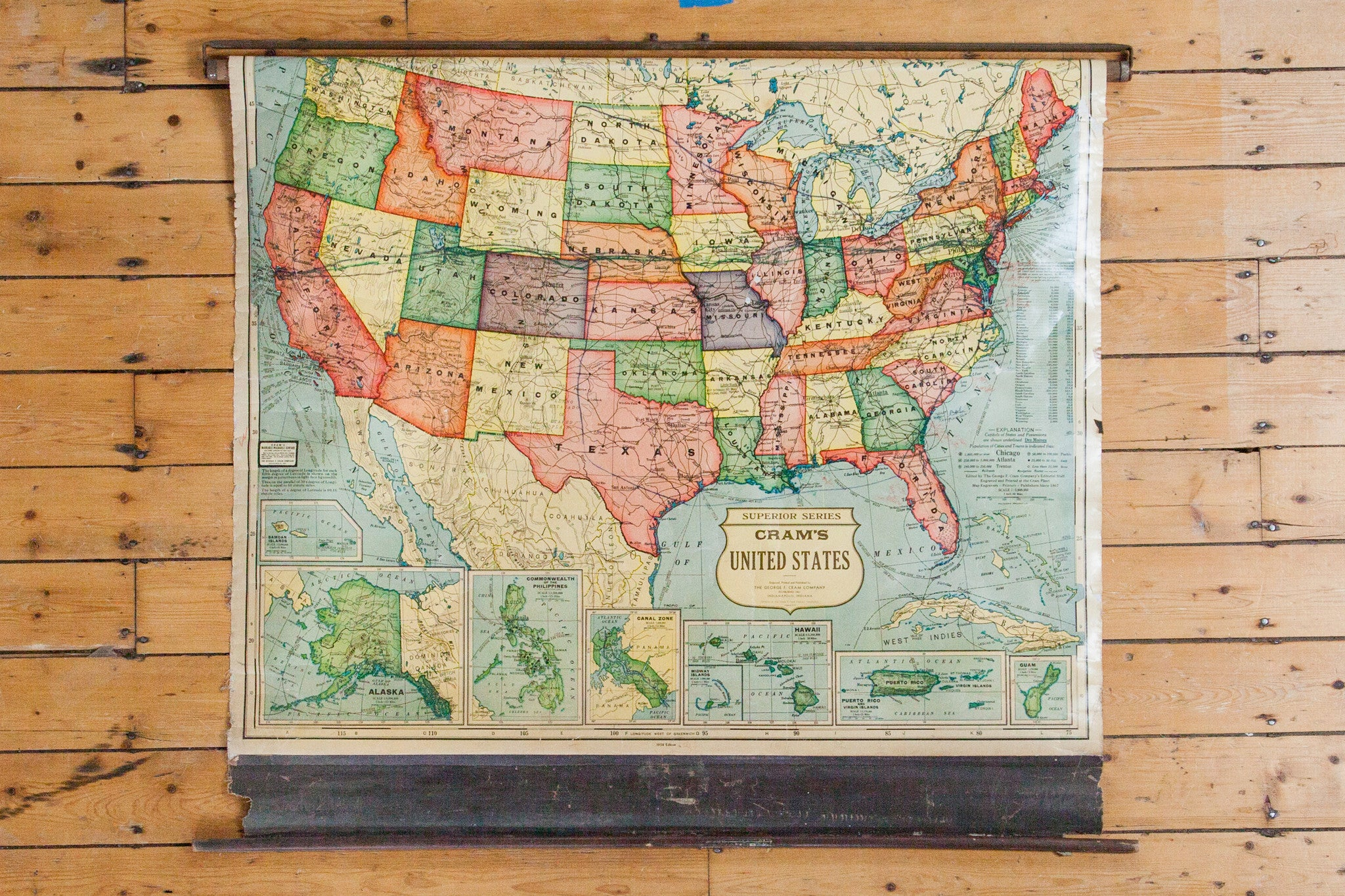 Vintage Pull Down Map Vintage Cram's Pull Down Map of the United States Vintage Pull Down Map