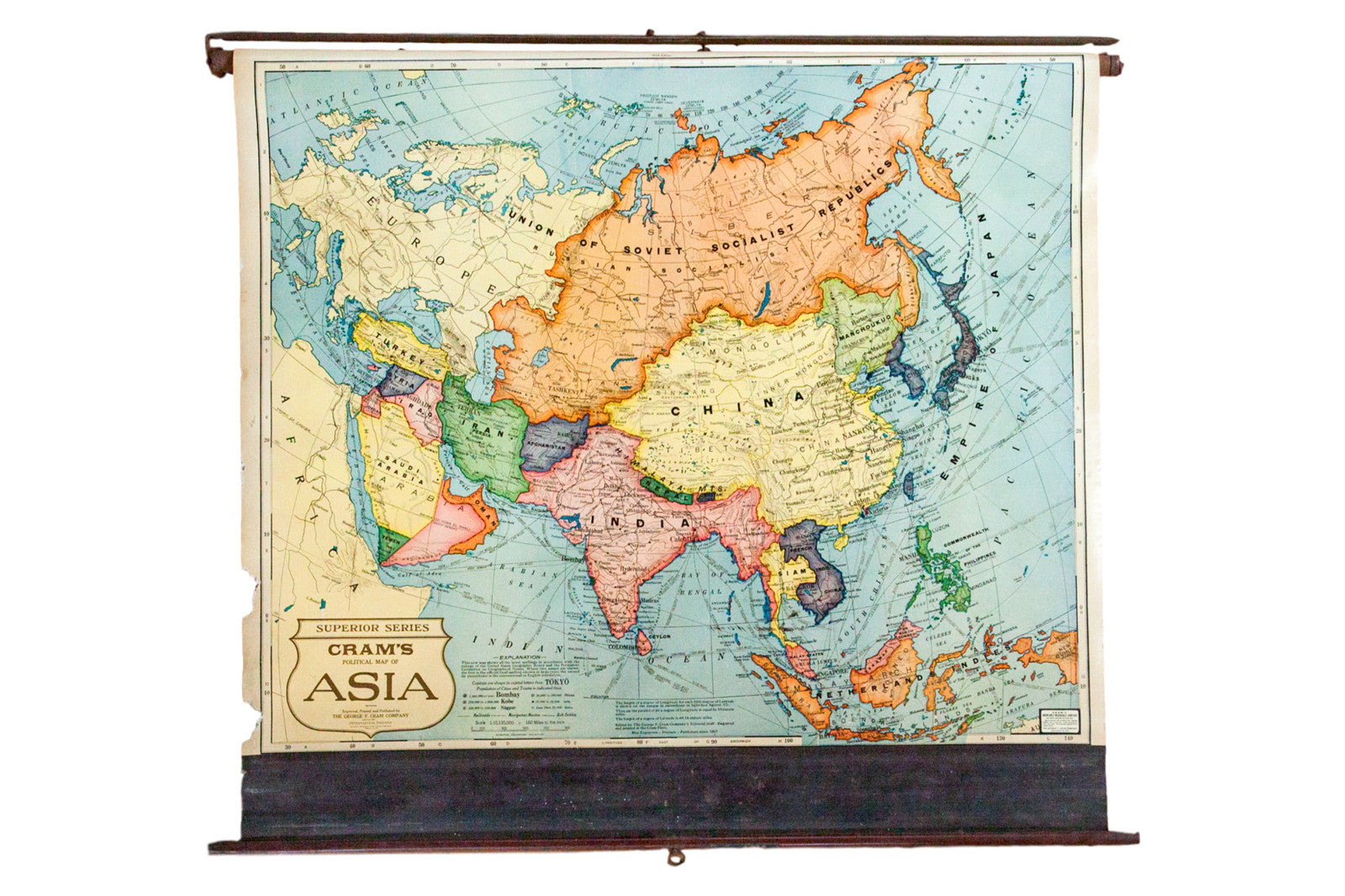 Vintage Cram\'s Pull Down Map of Asia