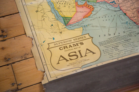 Cram's 1930s Vintage Political Pull Down Map of Asia