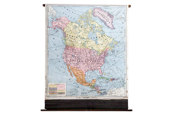 Rare Hard to Find Vintage Pull Down Map of North America from the 1930s