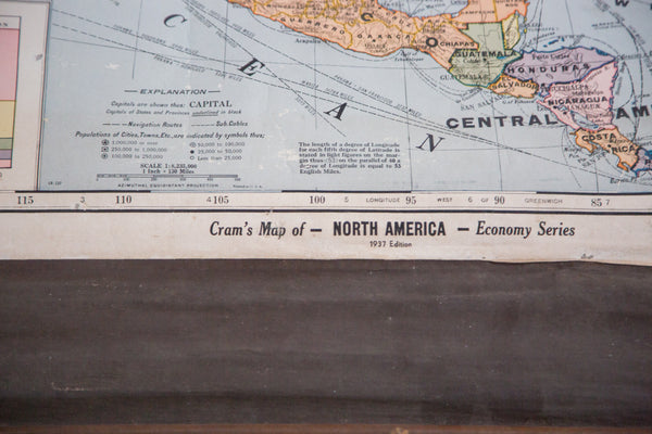 1937 Cram's Pull Down Map of North America Hanging on Wooden Dowels