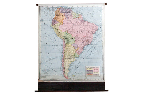 Vintage Cram's Pull Down Classroom Map of South America