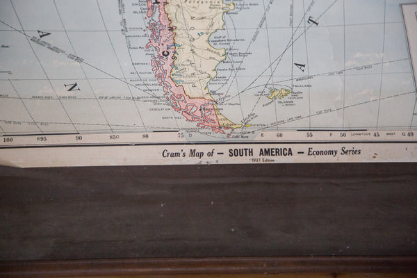 Vintage 1930s Hanging Map of South America Bolivia Peru Brazil Argentina Colombia Venezuela Chile Bolivia Paraguay