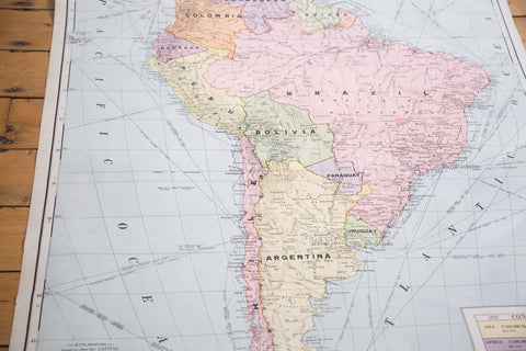 Hangable Pull-Down Map of South America including Brazil and Argentina