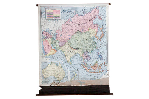 1937 Rare Cram's Pull Down Classroom Map of Asia and Australia