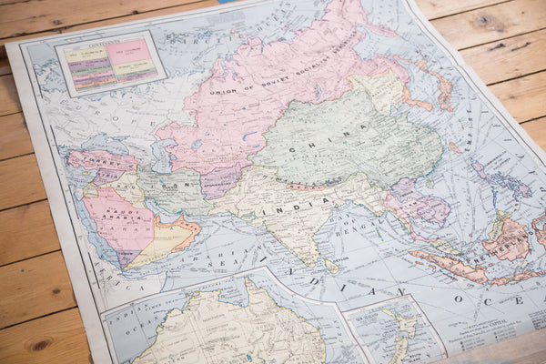 Vintage 1930s Cram's large student map of Asia and Australia