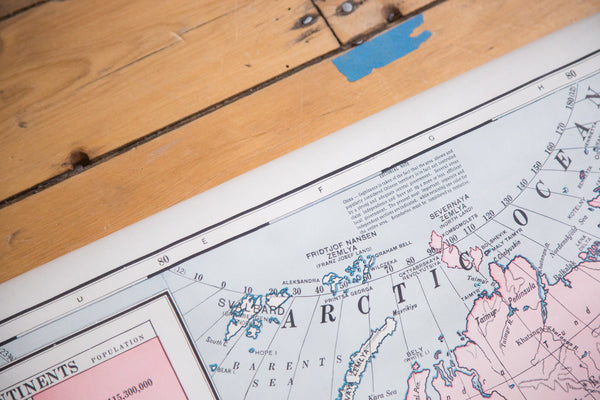 Large vintage pull down map of Asia and Australia on wooden dowels from Cram's 1930s series of classroom school maps