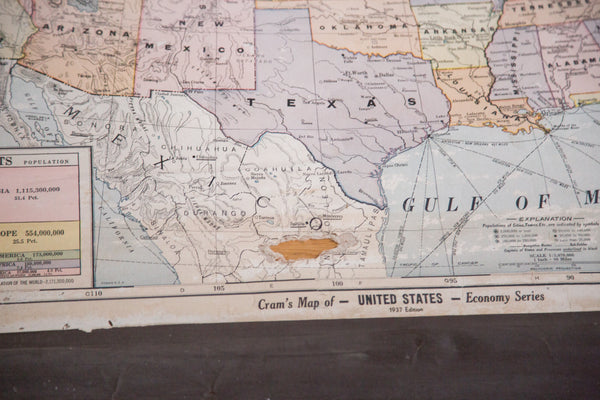 Large hanging pull-down map of the USA Cram's Vintage 1930s map