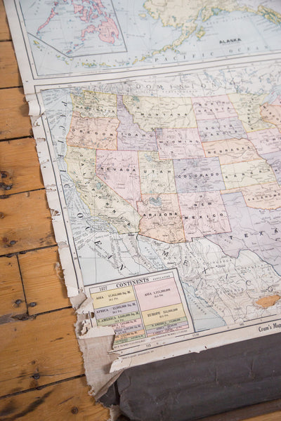 Vintage school classroom hanging pull down map of America