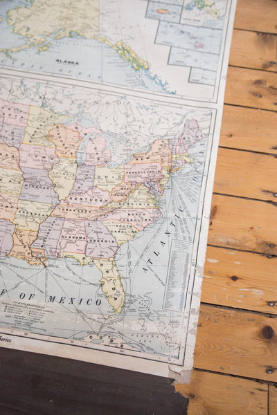 Rare hard to find vintage 1937 Cram's pull down map of the United States of America