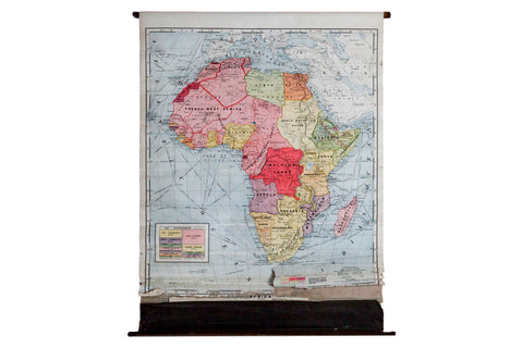 Vintage 1937 Classroom Pull Down Map of Africa