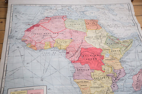 1937 Cram's School Pull Down Map of Africa