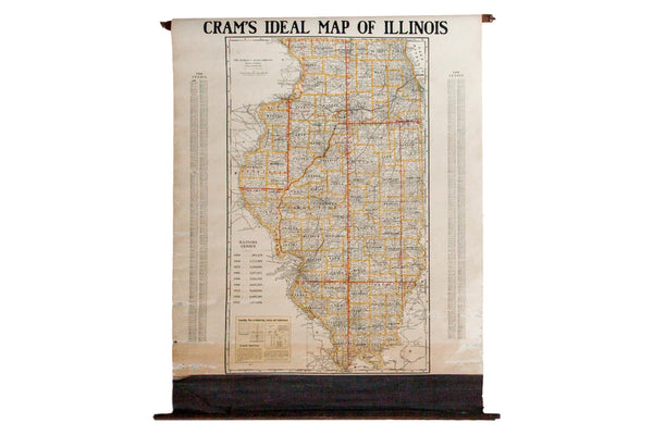 Vintage Hanging Pull Down Map of the state of Illinois on wooden dowels