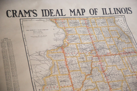 Vintage 1930s Crams Ideal Map of Illinois