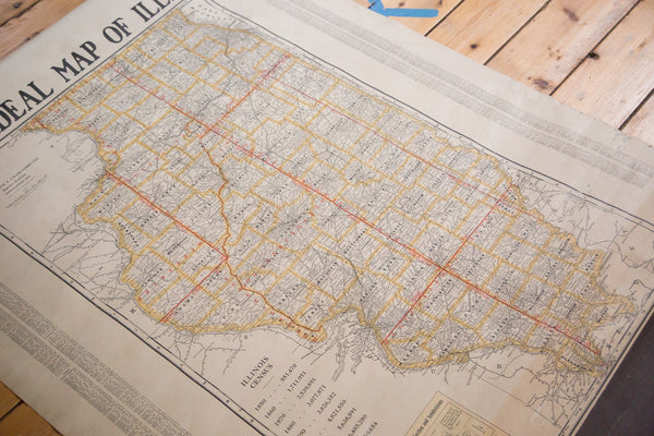 Vintage 1930s Map of Illinois from Cram's Superior Series