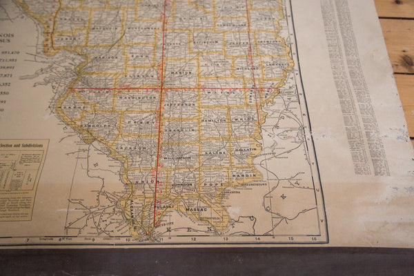Vintage school classroom pulldown map of Illinois IL