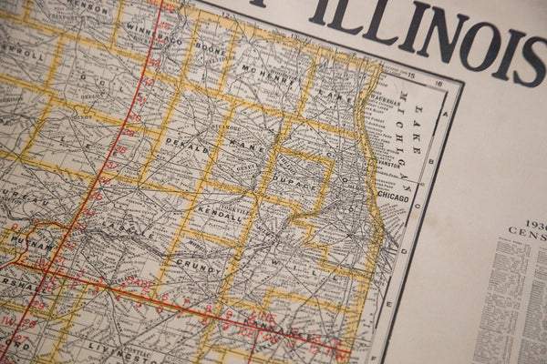 Rare large hanging pull down map of Illinois from 1937 with information from national census