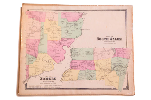 Antique map of Somers NY and North Salem New York