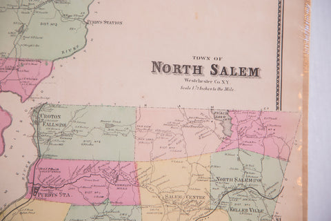 Antique map of two small New York towns North Salem and Somers