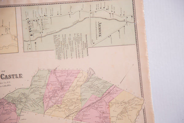 Antique map of Armonk NY and North Castle New York in Westchester County upstate from NYC