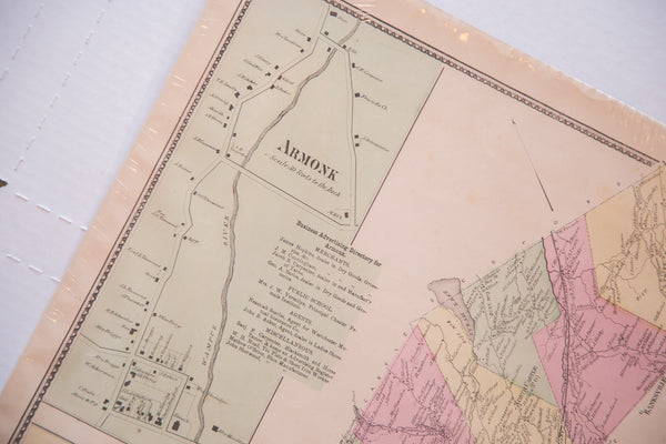 Antique map of two small Westchester New York towns Armonk and North Castle