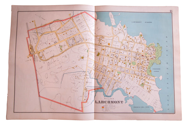 Antique map of Larchmont New York in Westchester County NY