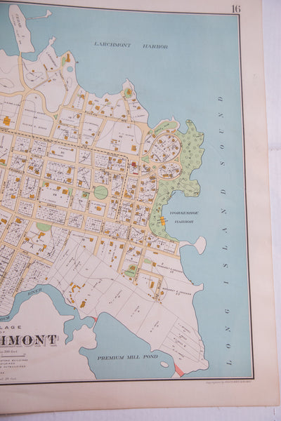 Antique map of Hudson River town Larchmont NY located in Westchester County New York
