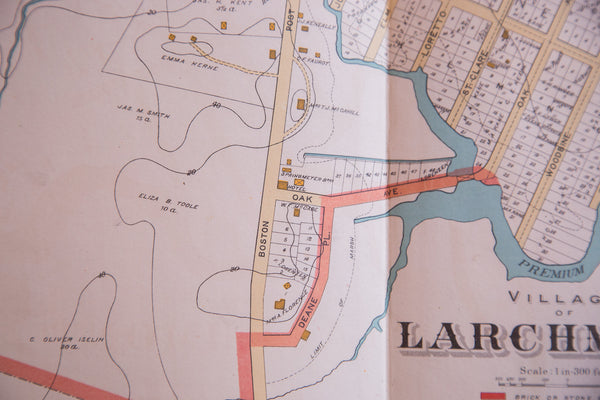 Vintage map of the town of Larchmont NY upstate of New York City