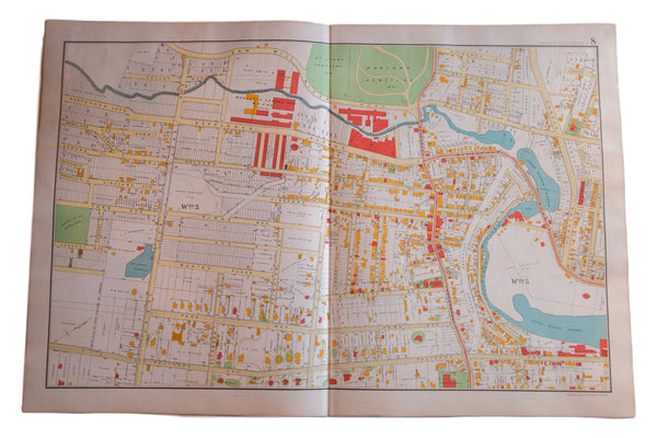 Antique map of Yonkers New York just outside of New York City in Westchester County NY