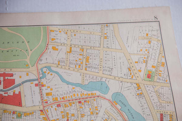 Vintage map of the city of Yonkers just outside of NYC in Westchester New York