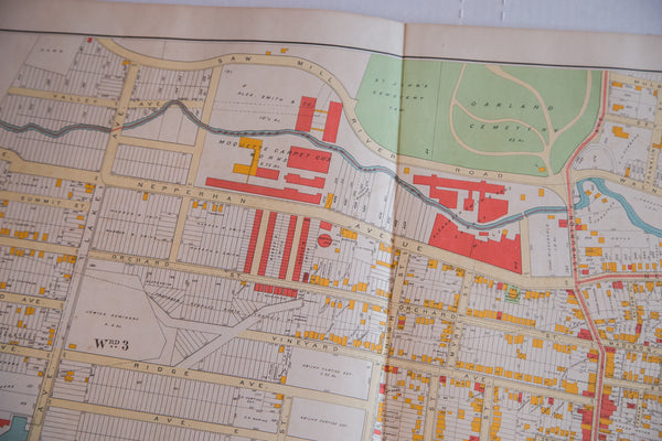 Antique map of Southern Westchester city Yonkers just outside of New York City