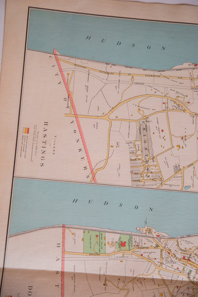 Vintage map of Irvington Dobbs Ferry and Hastings New York located in Westchester County NY outside of NYC