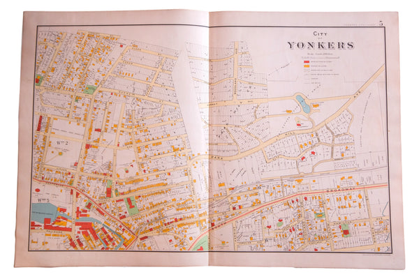 Antique map the city of Yonker New York located just outside of the Bronx NY